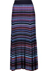 Maje Jason Metallic Striped Rib Knit Maxi Skirt Multi