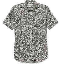 Alexander Mcqueen Brad Slim Fit Button Down Collar Leopard Print Cotton Shirt Black