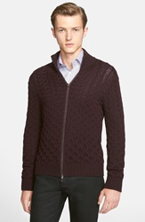 Etro Cable Knit Full Zip Wool Sweater Burgundy