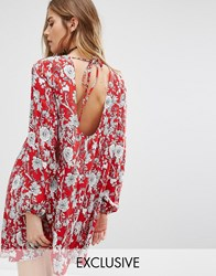 Reclaimed Vintage Open Back Swing Dress In Sparse Floral Print Red