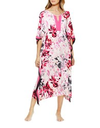 Ellen Tracy Floral Print Pullover Caftan Dress Pink