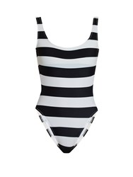 Norma Kamali Mio Scoop Back Striped Swimsuit Black Stripe