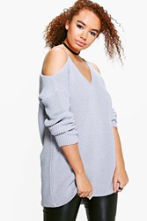 Boohoo Plus Lisa Open Shoulder Slouchy Jumper Grey