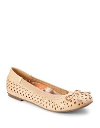 Vionic Surin Leather Perforated Ballet Flats Nude
