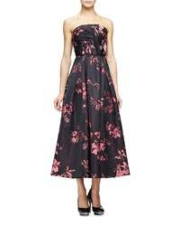 Oscar De La Renta Strapless Draped Bodice Tea Length Gown Black Pink Women's
