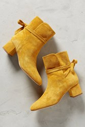 Anthropologie Manu Saturated Suede Ankle Boots Yellow