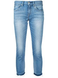 Red Card Cropped Skinny Jeans Women Cotton Polyurethane 23 Blue