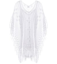 Anna Kosturova Tassel Crocheted Cotton Poncho Dress White
