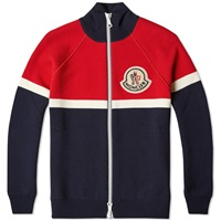 Moncler A Tricolour Zip Cardigan Red White And Navy