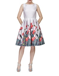 Carmen Marc Valvo Floral Fit And Flare Dress Coral Multi