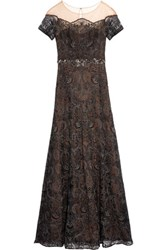 Marchesa Notte Off The Shouler Layered Lace And Organza Gown Black