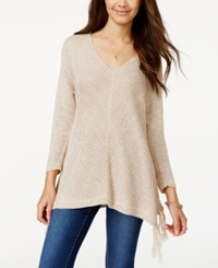 American Rag Juniors' V Neck Fringe Sweater Only At Macy's Raw Umber