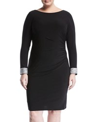 Marina Plus Side Ruched Jewel Embellished Dress Black