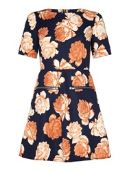 Mela Loves London Rose Print Collared Shirt Dress Navy