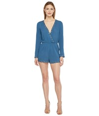 Brigitte Bailey Illiana Bell Sleeve Romper With Bead Detail Teal Women's Jumpsuit And Rompers One Piece Blue