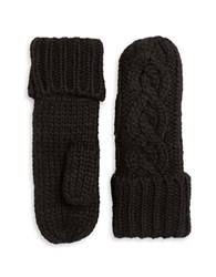 Rella Insulated Wool Blend Cableknit Mittens Black