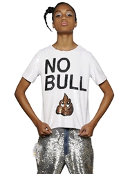 Ashish 'No Bull' Sequined Cotton Top White