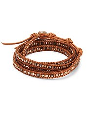 Chan Luu Crystal Sterling Silver And Leather Bracelet Rose Gold