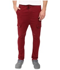 Publish Angus Stretch Twill Drop Stack Fit Cargo Pants Maroon Men's Casual Pants Red