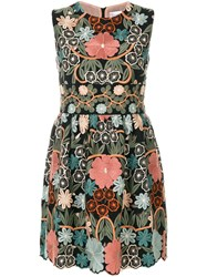 Red Valentino Floral Print Mini Dress Polyester