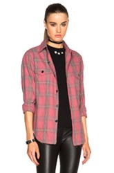 Saint Laurent Plaid Shirt In Red Checkered And Plaid