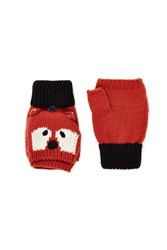 Forever 21 Red Panda Convertible Mittens Rust Cream
