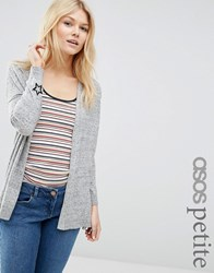 Asos Petite Cardigan With Black Star Embroidery At Cuff Grey