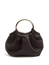 The Row Double Circle Mini Silk Satin Bag Black