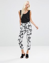 Minimum Ninel Abstract Printed Cropped Pants Surf Mint