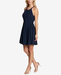 Kensie Corset Fit And Flare Dress Navy