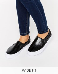 Asos Dulcie Wide Fit Trainers Black Snake