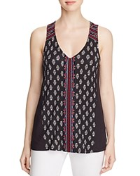 Sanctuary Kira Embroidered Boho Print Tank Black