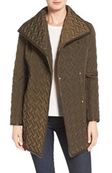 Cole Haan Signature Women's Water Resistant Quilted Wrap Coat Olive