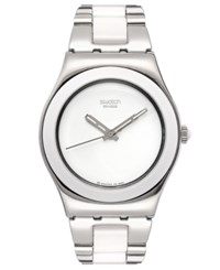 Swatch Watch Women's Swiss White Ceramic And Stainless Steel Bracelet 33Mm Yls141g