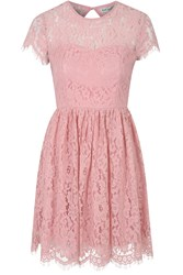 Alice And You Open Back Lace Skater Dress Pink