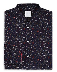 Paul Smith Hand Drawn Floral Slim Fit Dress Shirt Navy Multi