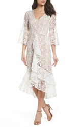 Chelsea 28 Chelsea28 Ruffle Lace Midi Dress White Snow