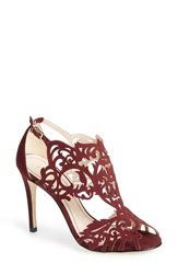 Klub Nico 'Marcela' Laser Cutout Sandal Women Wine Nubuck Leather