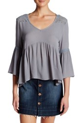 Anama Bell Sleeve Crochet Lace Blouse Gray