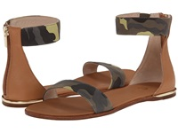 Yosi Samra Cambelle Washed Camo Leather Sandal Limette Sienna Women's Sandals Green