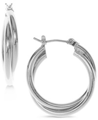 Nine West Silver Tone Twisted Hoop Earrings