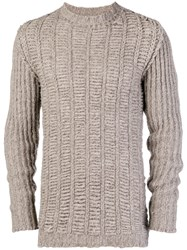 Rick Owens Chunky Knit Jumper Brown