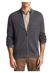 Saks Fifth Avenue Collection Wool Zip Up Sweater Grey