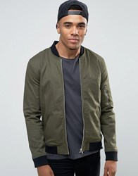 Asos Muscle Fit Bomber Jacket With Ma1 Pocket In Khaki Khaki Green