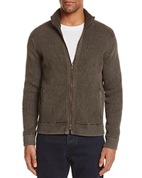 Bloomingdale's The Men's Store At Ribbed Cotton Zip Cardigan Sweater Black Olive
