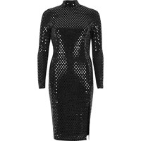 River Island Womens Metallic Black Turtleneck Midi Dress
