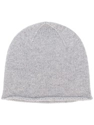 Pringle Of Scotland Fine Knit Beanie Grey