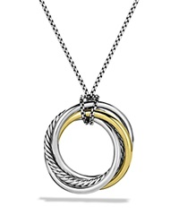 David Yurman Crossover Pendant With Gold On Chain Silver Yellow Gold