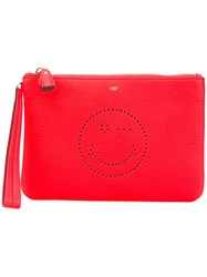 Anya Hindmarch Clutch Bag Women Leather One Size Yellow Orange
