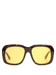 Gucci Square Frame Tortoiseshell Sunglasses Brown Multi